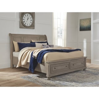 Lettner Light Gray Sleigh Bed with Storage