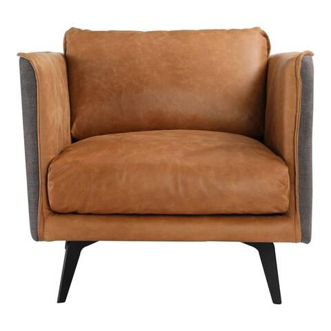 Aurelle Home Mid-Century Modern Cognac Leather Arm Chair