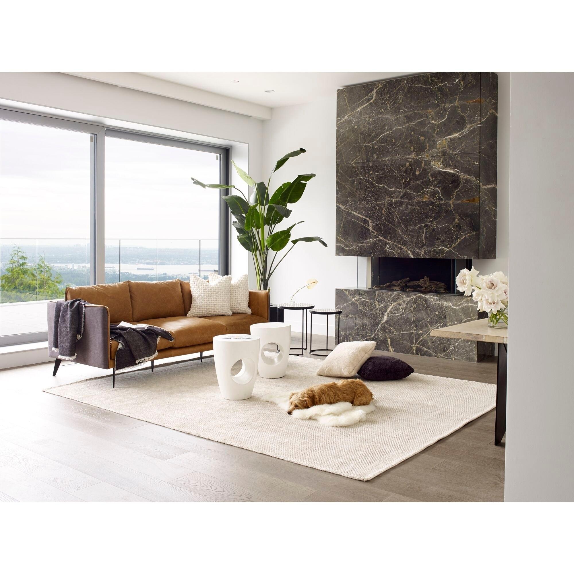 Mid Century Modern Cognac Leather Sofa