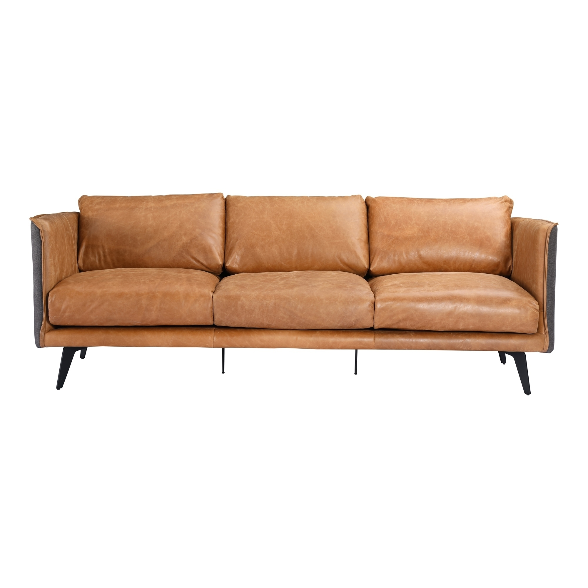 Aurelle Home Mid-century Modern Cognac Leather Sofa