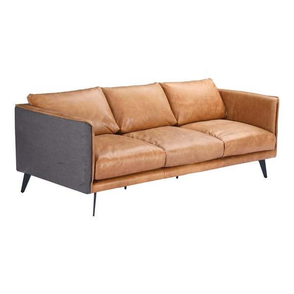 Sensational Shop Aurelle Home Mid Century Modern Cognac Leather Sofa Gamerscity Chair Design For Home Gamerscityorg