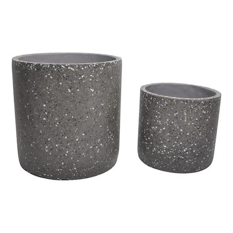 Aurelle Home Terrazzo Grey Contemporary Cement Planters (Set of 2)