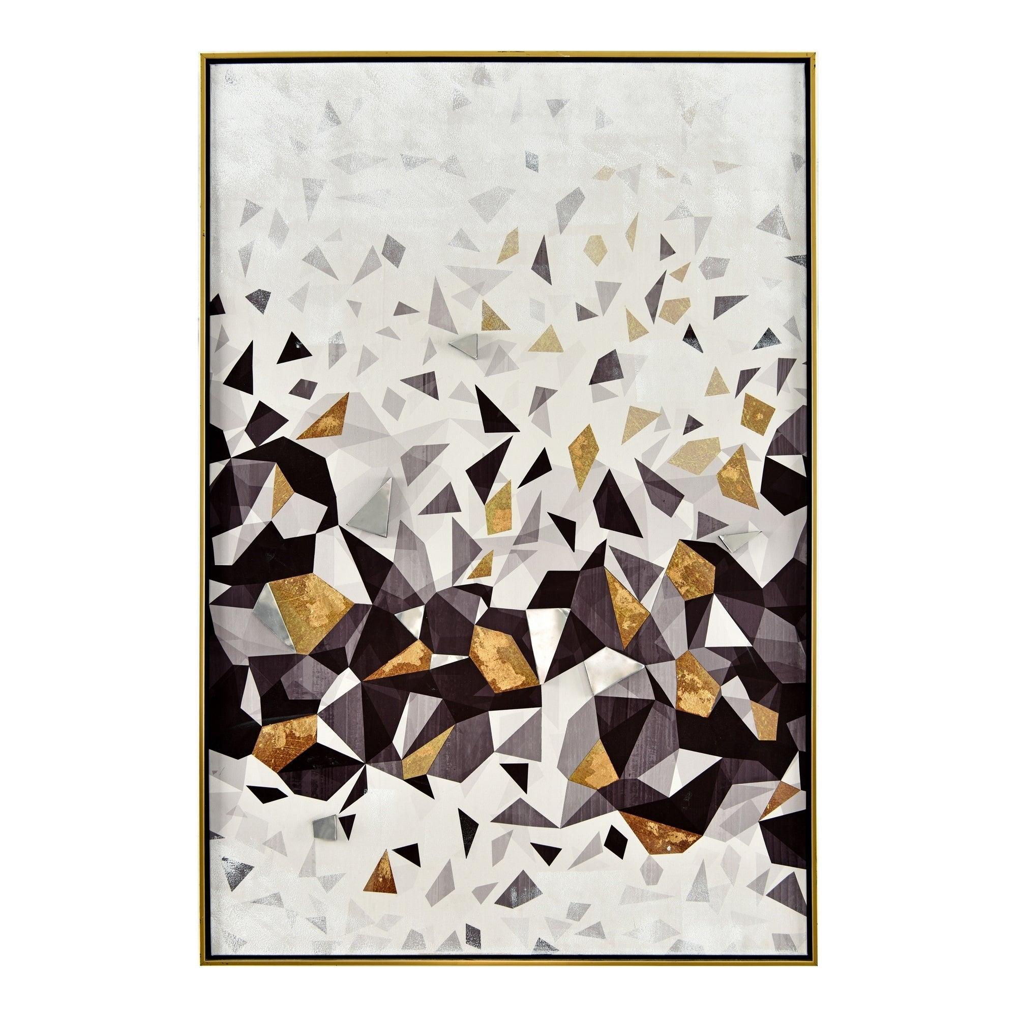 Aurelle Home Contemporary Geometric Framed Canvas Wall Decor