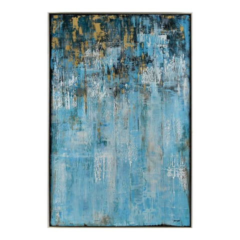 Aurelle Home Handcrafted Abstract Blue and Gold Wall Decor