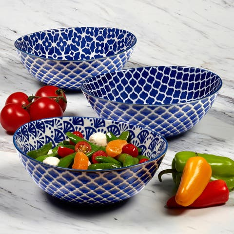 Certified International Petals Oval Bowls, Set of 3