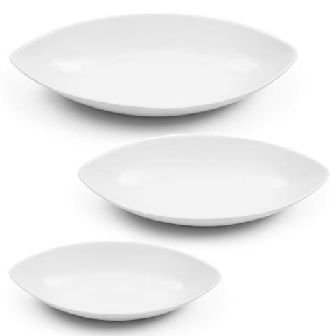 Certified International Bianca White Oval 3 Pieces Bowl Set