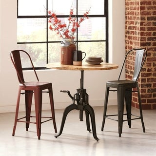 Industrial Style 3-piece Crank Cast Iron Table Set with Counter-height Stools