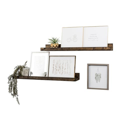 "Handmade 36"" Rustic Luxe Floating Shelf, Set of 2"