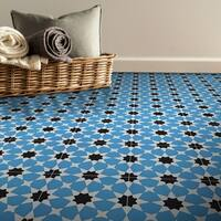 Medina in Blue and Black Handmade 8x8-in Moroccan Tiles, Pack of 12