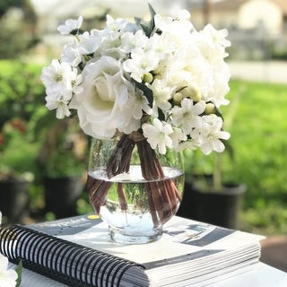 Enova Home Cream Artificial Rose and Mixed Flower Arrangements with Clear Glass Vase