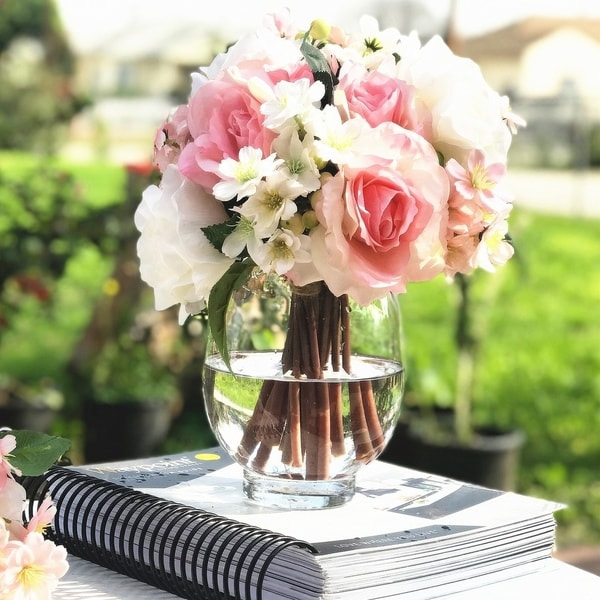 Enova Home Pink and Cream Artificial Rose and Mixed Flower Arrangements with Clear Glass Vase - White