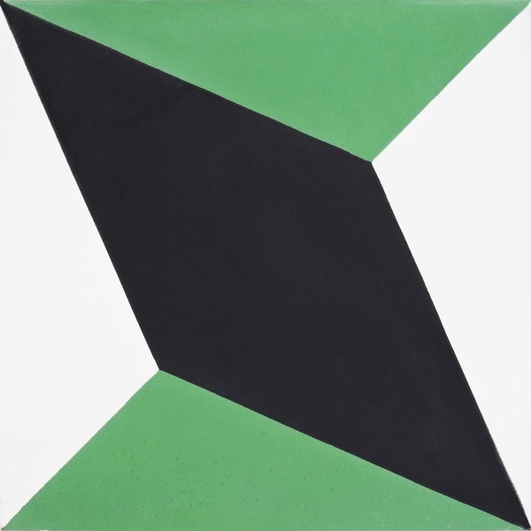 068a018e5ddae Shop Diamond in Green and Black Handmade 8x8-in Moroccan tile, Pack ...