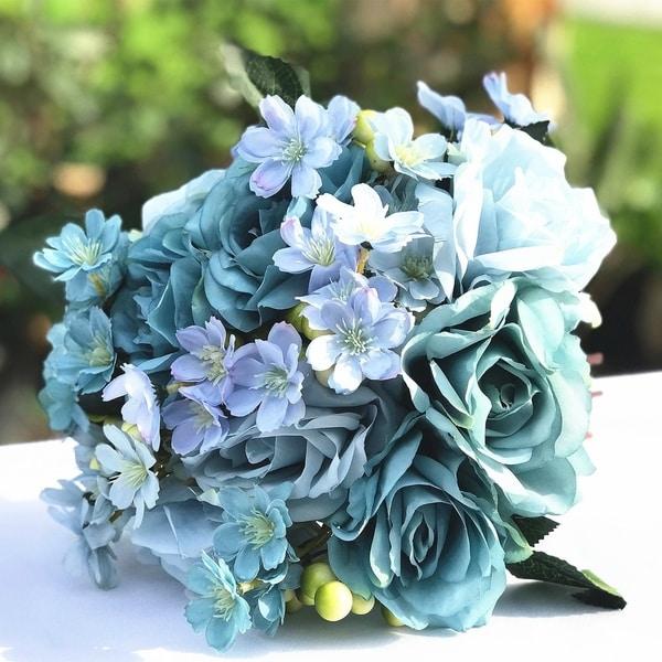 Enova Home Sky Blue Artificial Rose and Mixed Flower Bouquet Set of 2