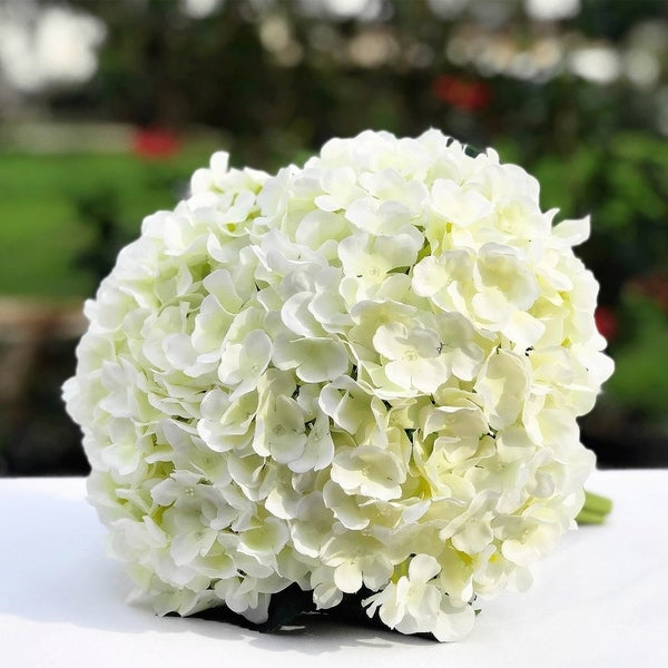 Enova Home Cream Artificial Hydrangea Flower Bouquets Set of 3