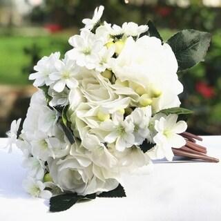 Enova Home Cream Artificial Rose and Mixed Flower Bouquet Set of 2