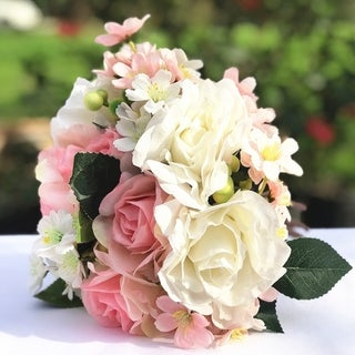 Enova Home Pink and Cream Artificial Rose and Mixed Flower Bouquet Set of 2