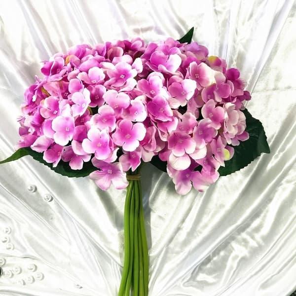 Enova Home Lavender Purple Artificial Hydrangea Flower Bouquets Set Of 3 Overstock 27545944