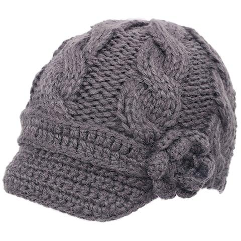 Women's Hand Knitted Beanie Newsboy Hat with Visor, 1128_Dark Grey