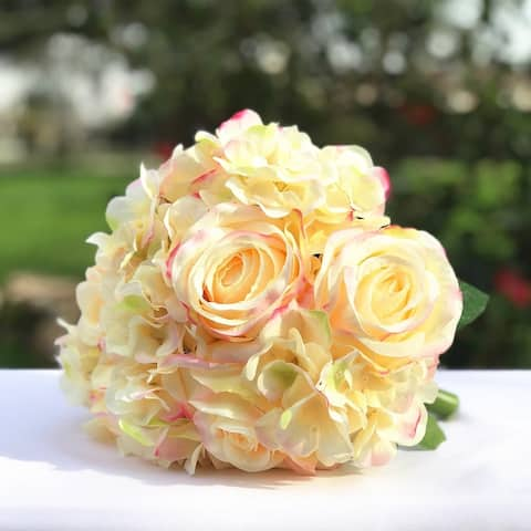 Enova Home Blush Artificial Silk Roses and Hydrangea Fake Flowers Bouquets Set of 2 for Home Office Wedding Decoration - peach