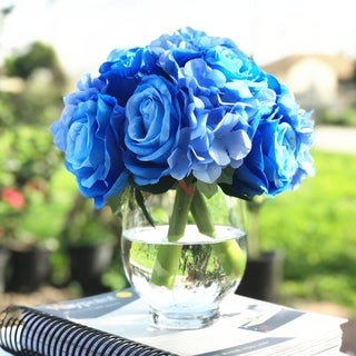 Enova Home Blue Artificial Silk Rose and Hydrangea Flower Arrangements with Glass Vase