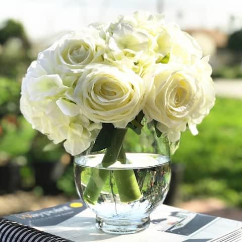 Enova Home Cream Artificial Silk Rose and Hydrangea Flower Arrangements with Glass Vase