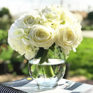 Link to Enova Home Cream Artificial Silk Rose and Hydrangea Flower Arrangements with Glass Vase Similar Items in Decorative Accessories