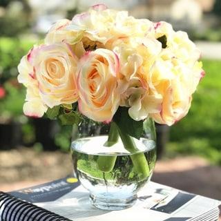 Enova Home Blush Artificial Silk Rose and Hydrangea Flower Arrangements with Glass Vase - peach