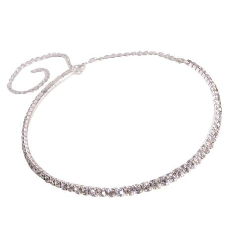 Single Row Delicate Jewelry Choker Charm Crystal Rhinestone Necklaces - White