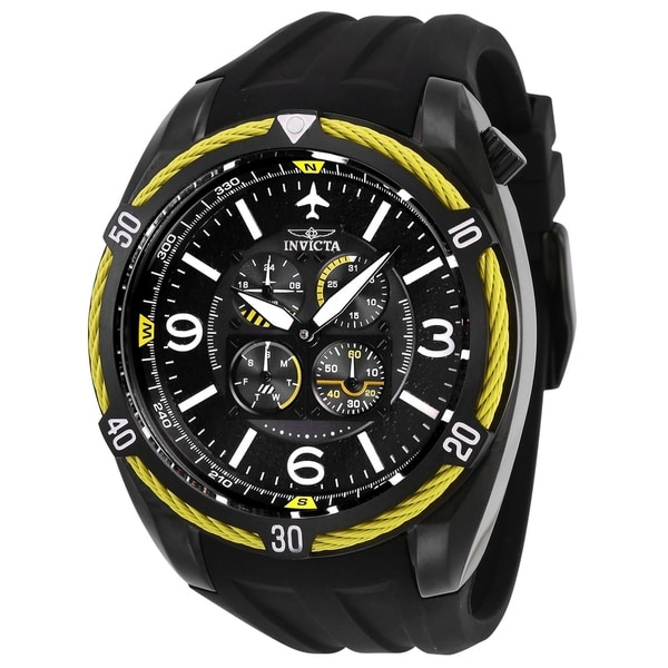 0e81be743 Shop Invicta Men's Aviator 28085 Black Watch - Free Shipping Today ...