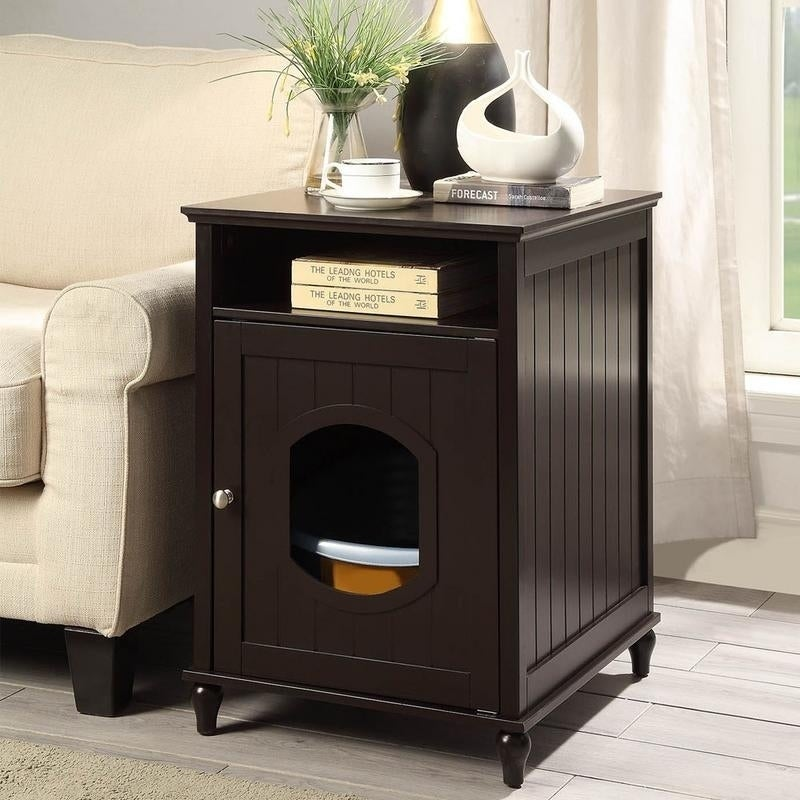 Unipaws Cat Litter Box Enclosure Litter Loo Cat House End Table