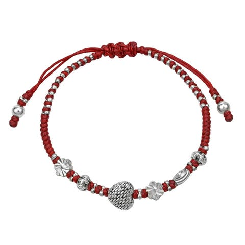 Handmade Vintage Style Heart Waxed Red Cotton Rope Handmade Bracelet (Thailand)