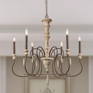 "Farmhouse Decor Elynn 6-Light French Wood Chandelier Lighting - D31.1"" x H32.7"""