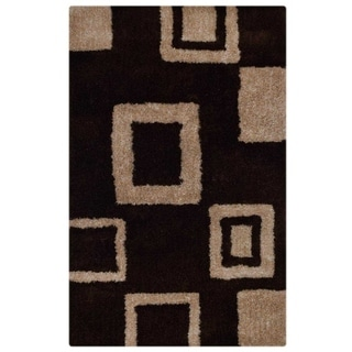 Indian Color Block Shaggy Hand Tufted Modern Shag Polyester Area Rug