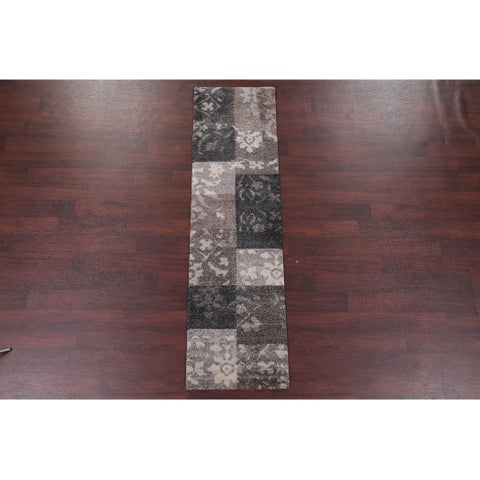 Floral Patchwork Shaggy Shag Area Rug Earth Tones