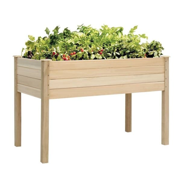 Shop Kinbor Cedar Wood Raised Garden Bed Elevated Planter Kit Grow
