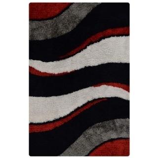 Shaggy Indian Hand Tufted Shag Modern Polyester Stripe Area Rug