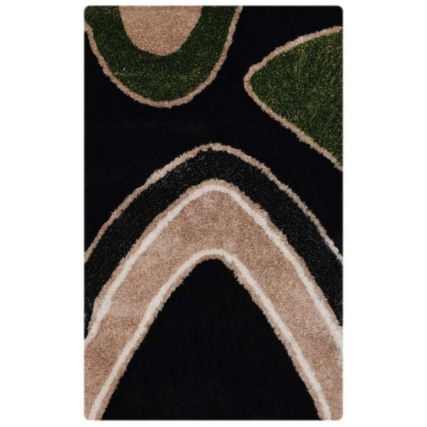 Shaggy Shag Hand Tufted Graphic Polyester Indian Modern Area Rug
