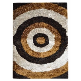 Shaggy Shag Hand Tufted Graphic Polyester Modern Indian Area Rug