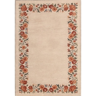 The Curated Nomad Alpine Handmade Oushak Oriental Floral Border Area Rug