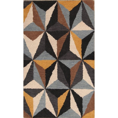 The Curated Nomad Andover Cubic Design Modern Oushak Oriental Area Rug