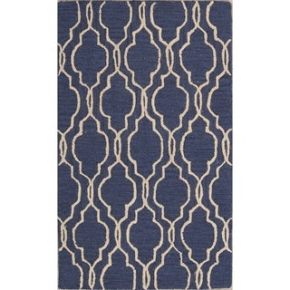 The Curated Nomad Anthony Geometric Handmade Wool Trellis Indian Oriental Area Rug