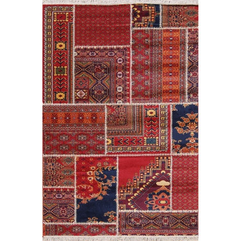 The Curated Nomad Krystal Patchwork Turkish Oriental Polyester Jute Rug