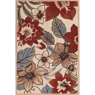 The Curated Nomad Blake Handmade Wool Transitional Floral Oushak Oriental Area Rug