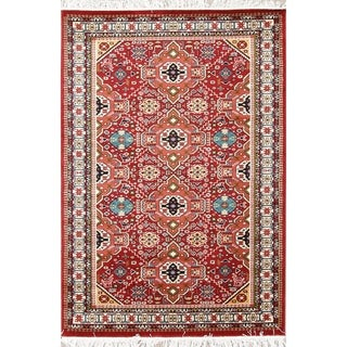 The Curated Nomad Appleton Red Geometric Kazak Turkish Oriental Polyester Jute Area Rug