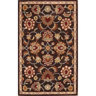 The Curated Nomad Treat Handmade Wool Oushak Oriental Floral Area Rug