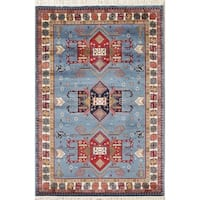 The Curated Nomad Columbus Polyester Jute Geometric Kazak Turkish Oriental Border Area Rug