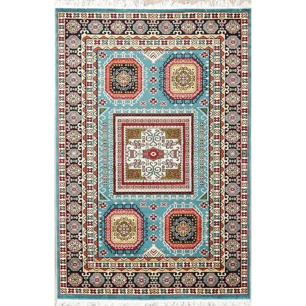 The Curated Nomad Columbus Light Blue Geometric Kazak Turkish Oriental Area Rug