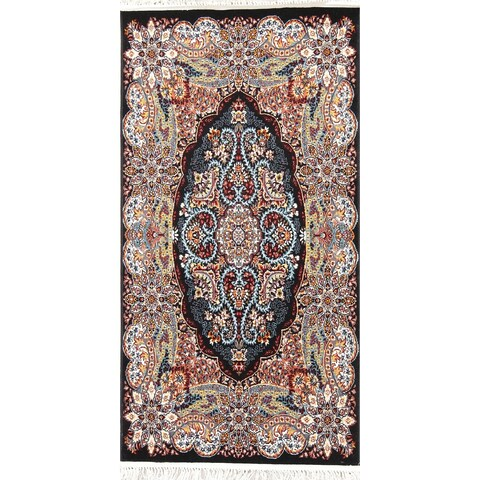 The Curated Nomad Anderson Black Floral Tabriz Turkish Oriental Wool Acrylic Area Rug