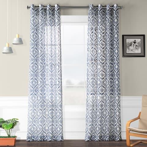 Porch & Den Hurrell Ogee Printed Sheer Faux Linen Grommet Curtain
