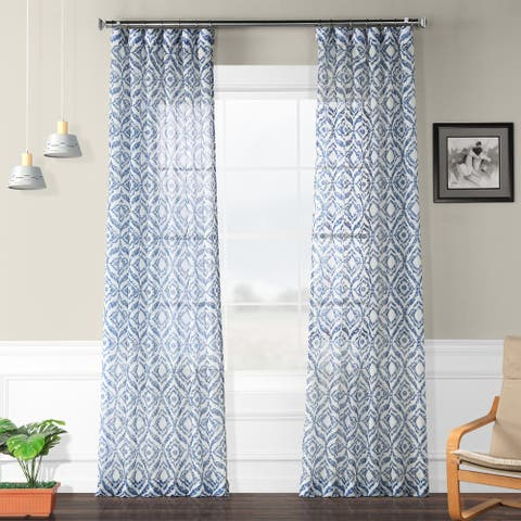 Exclusive Fabrics Plaza Printed Faux Linen Sheer Curtain